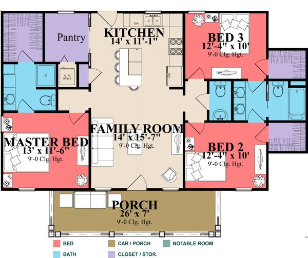 House Plan Design - Farmhouse Floor Plan - Main Floor Plan #63-419
