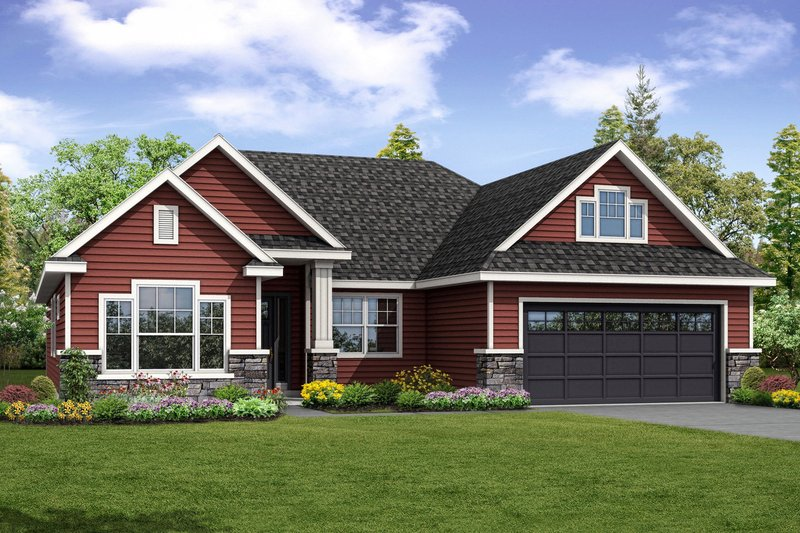 Country Style House Plan - 3 Beds 2.5 Baths 2150 Sq/Ft Plan #124-1034 Exterior - Front Elevation