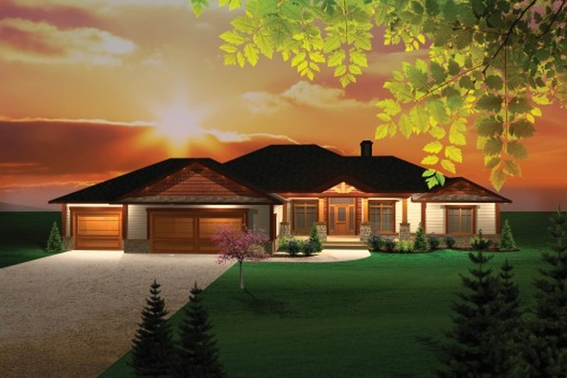 Ranch Exterior - Front Elevation Plan #70-1103