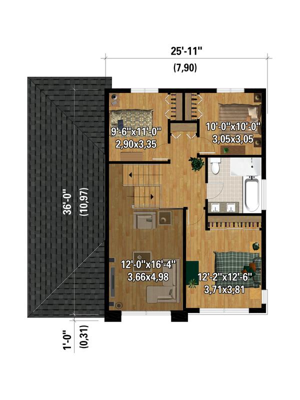 House Plan Design - Contemporary Floor Plan - Upper Floor Plan #25-4881