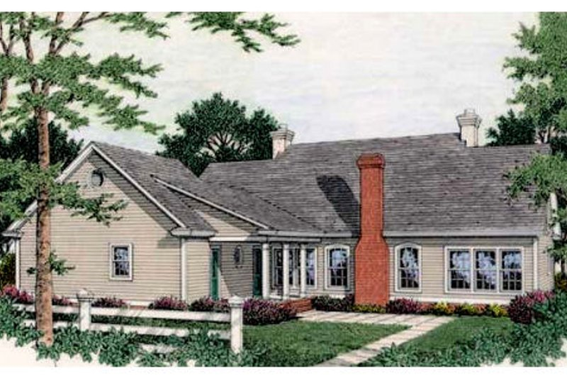 Southern Exterior - Rear Elevation Plan #406-110 - Houseplans.com