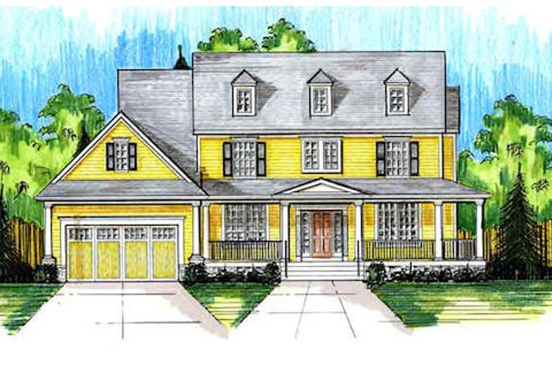 Country Exterior - Front Elevation Plan #46-488