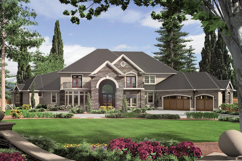 European Style House Plan - 5 Beds 6.5 Baths 6497 Sq/Ft Plan #48-360 Exterior - Front Elevation