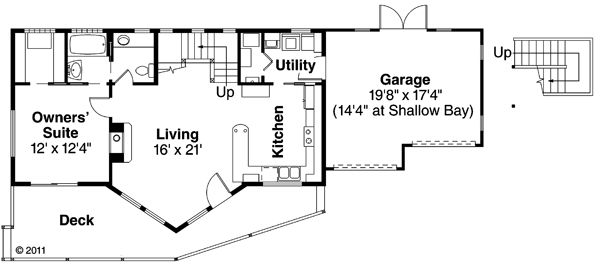 Contemporary Floor Plan - Main Floor Plan Plan #124-874
