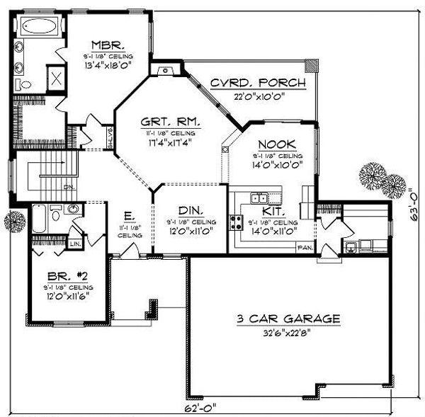 Ranch Floor Plan - Main Floor Plan Plan #70-864