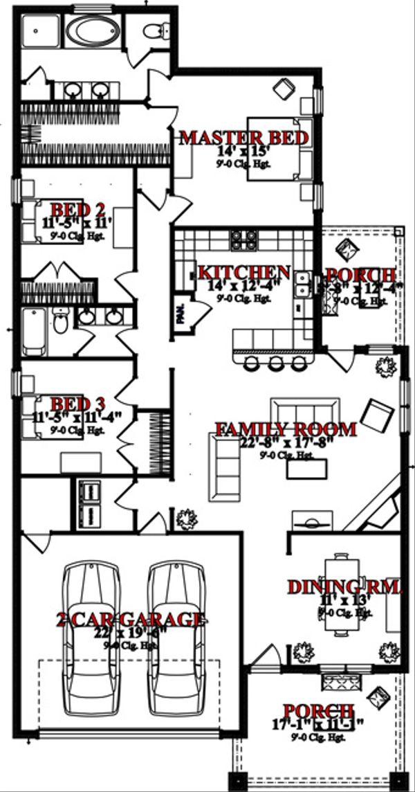 Bungalow Floor Plan - Main Floor Plan Plan #63-305
