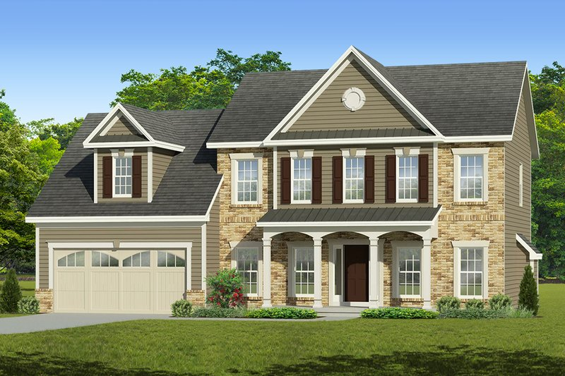 Colonial Exterior - Front Elevation Plan #1010-209