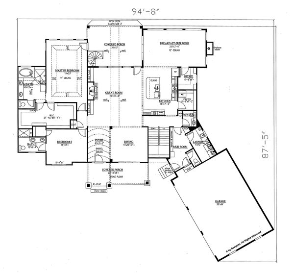 Craftsman Floor Plan - Main Floor Plan Plan #437-85