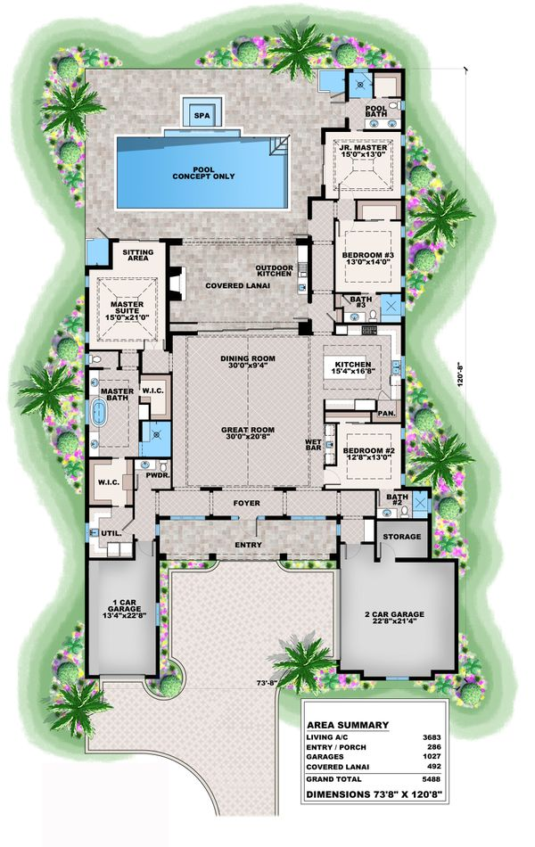 Contemporary Floor Plan - Main Floor Plan Plan #27-572