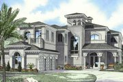 Mediterranean Style House Plan - 5 Beds 6.5 Baths 5872 Sq/Ft Plan #420-181 Exterior - Front Elevation