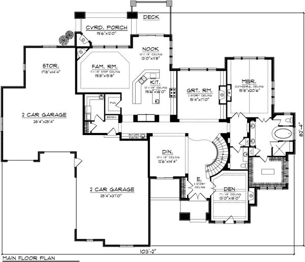 European Floor Plan - Main Floor Plan Plan #70-1094