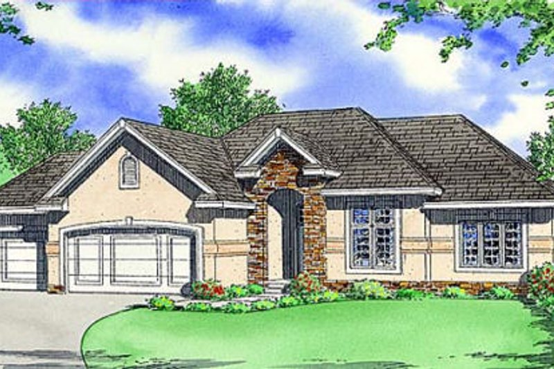 Modern Style House Plan - 3 Beds 2 Baths 1780 Sq/Ft Plan #312-640 Exterior - Front Elevation