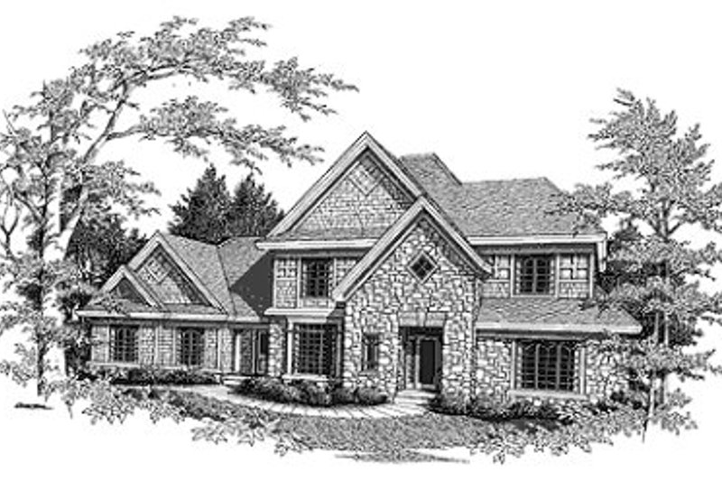 Southern Style House Plan - 4 Beds 3.5 Baths 2637 Sq/Ft Plan #70-422 Exterior - Front Elevation