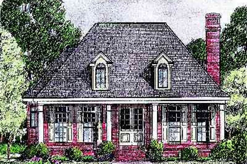Southern Style House Plan - 3 Beds 2.5 Baths 2385 Sq/Ft Plan #34-171 Exterior - Front Elevation