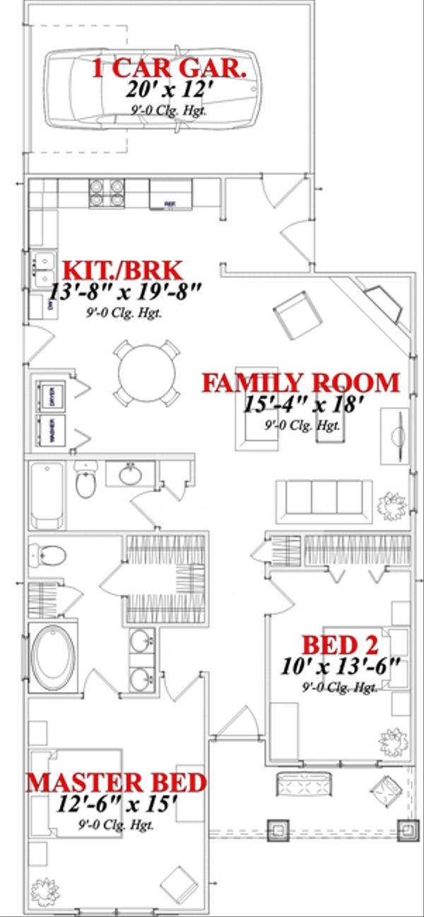 Bungalow Floor Plan - Main Floor Plan Plan #63-246