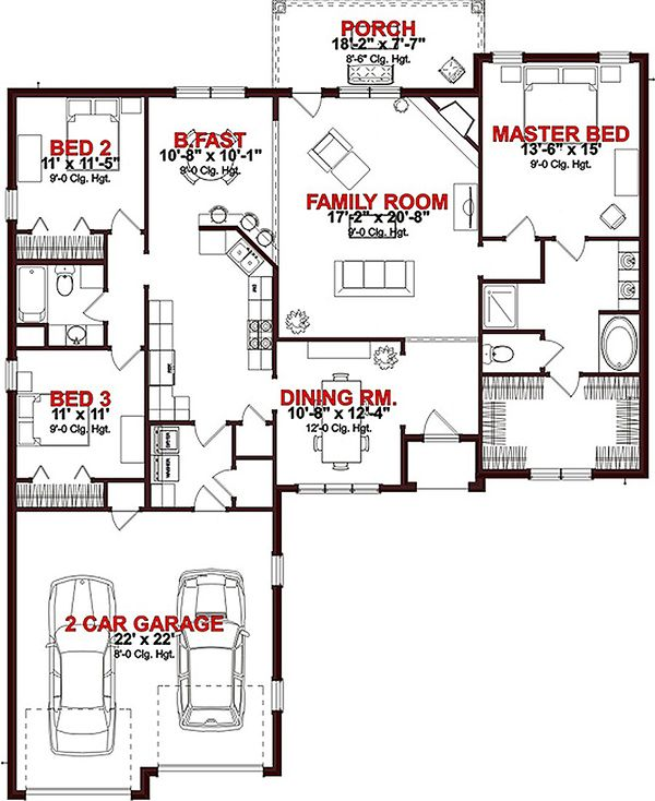 Ranch Floor Plan - Main Floor Plan Plan #63-259