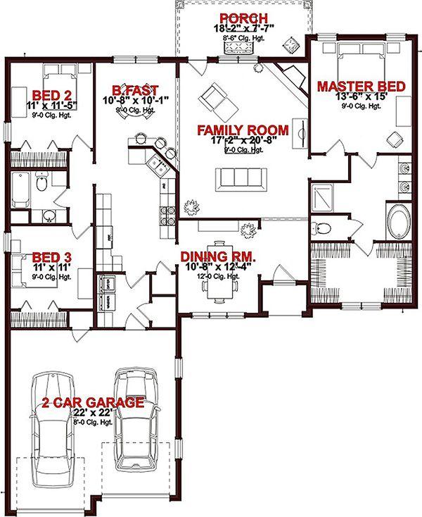 Ranch Floor Plan - Main Floor Plan Plan #63-259