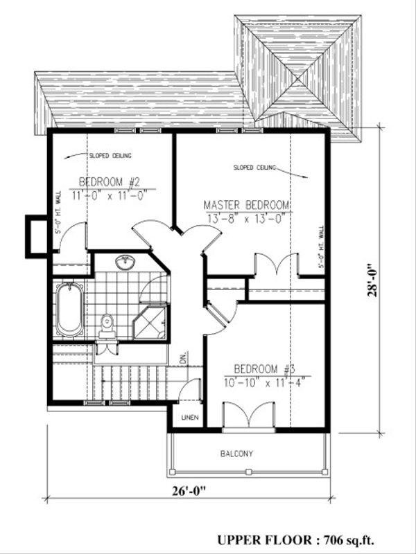 Farmhouse Floor Plan - Upper Floor Plan Plan #138-343