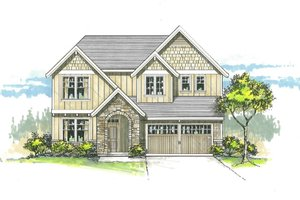 Architectural House Design - Craftsman Exterior - Front Elevation Plan #53-536