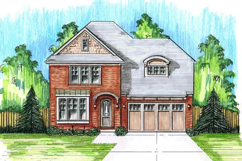 Colonial Exterior - Front Elevation Plan #46-482