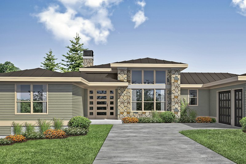 Contemporary Style House Plan - 3 Beds 3 Baths 2793 Sq/Ft Plan #124-1171 Exterior - Front Elevation
