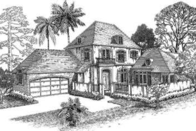 European Style House Plan - 3 Beds 3.5 Baths 2908 Sq/Ft Plan #301-106 Exterior - Front Elevation