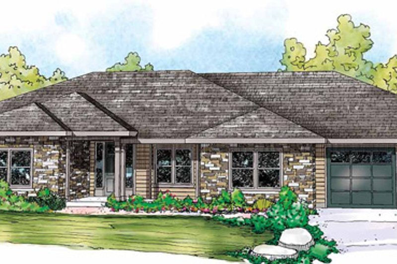 Ranch Style House Plan - 4 Beds 3 Baths 3000 Sq/Ft Plan #124-856 Exterior - Front Elevation