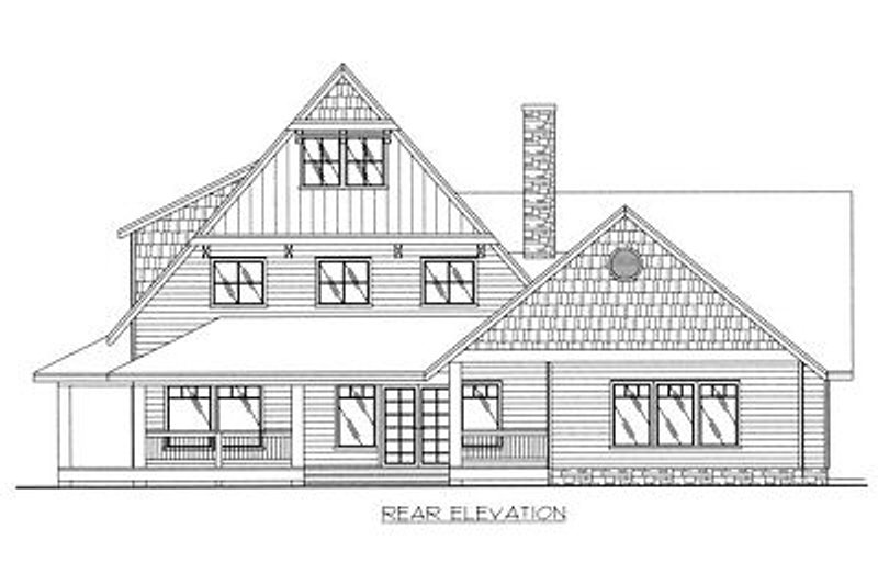 Country Exterior - Rear Elevation Plan #117-536 - Houseplans.com
