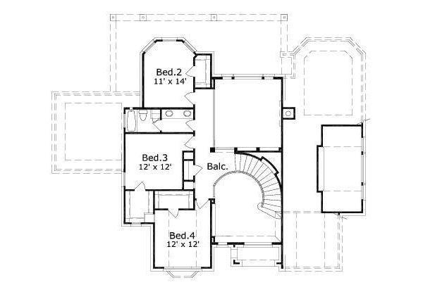 European Floor Plan - Upper Floor Plan Plan #411-562