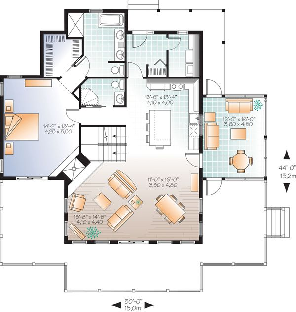 Contemporary Floor Plan - Main Floor Plan Plan #23-2317