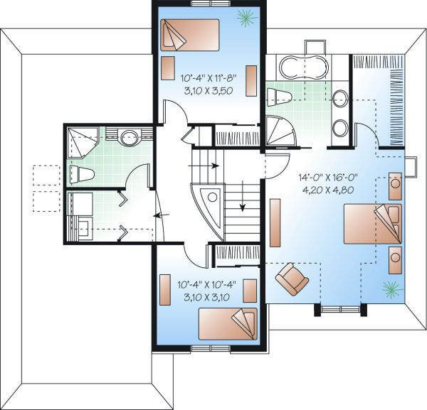 European Floor Plan - Upper Floor Plan Plan #23-804
