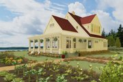 Country Style House Plan - 2 Beds 3 Baths 1900 Sq/Ft Plan #917-13 Exterior - Front Elevation