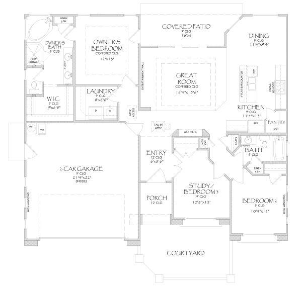 Adobe / Southwestern Floor Plan - Main Floor Plan Plan #24-218