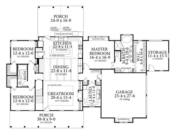 Farmhouse Floor Plan - Main Floor Plan Plan #406-9653