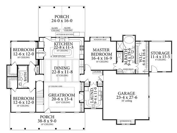 Farmhouse Style House Plan - 3 Beds 2 Baths 2252 Sq/Ft Plan #406-9653 Floor Plan - Main Floor Plan