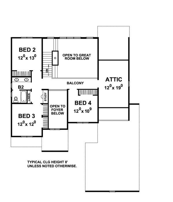 Traditional Floor Plan - Upper Floor Plan Plan #20-2287