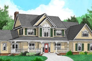 Architectural House Design - Country Exterior - Front Elevation Plan #11-223