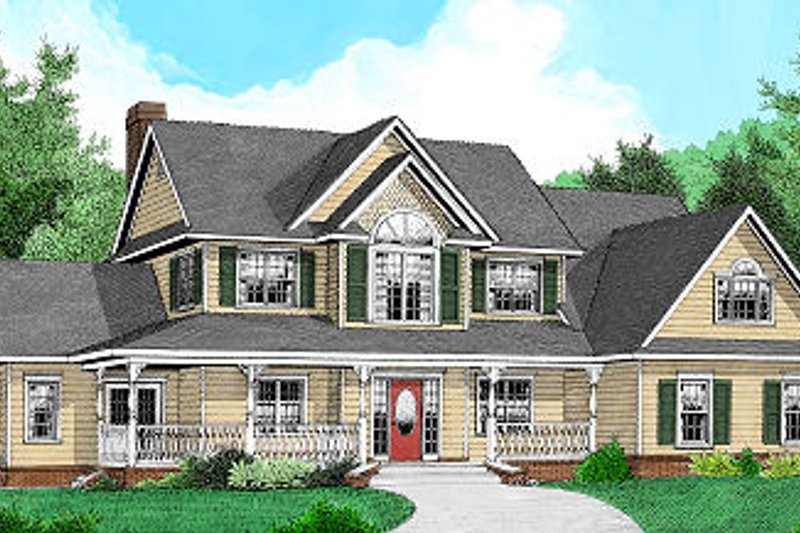 Home Plan - Country Exterior - Front Elevation Plan #11-223