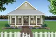 Cottage Style House Plan - 2 Beds 2 Baths 1292 Sq/Ft Plan #44-165 Exterior - Front Elevation