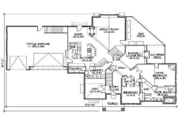 Colonial Floor Plan - Main Floor Plan Plan #5-436