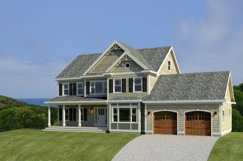House Blueprint - Farmhouse Exterior - Front Elevation Plan #497-11