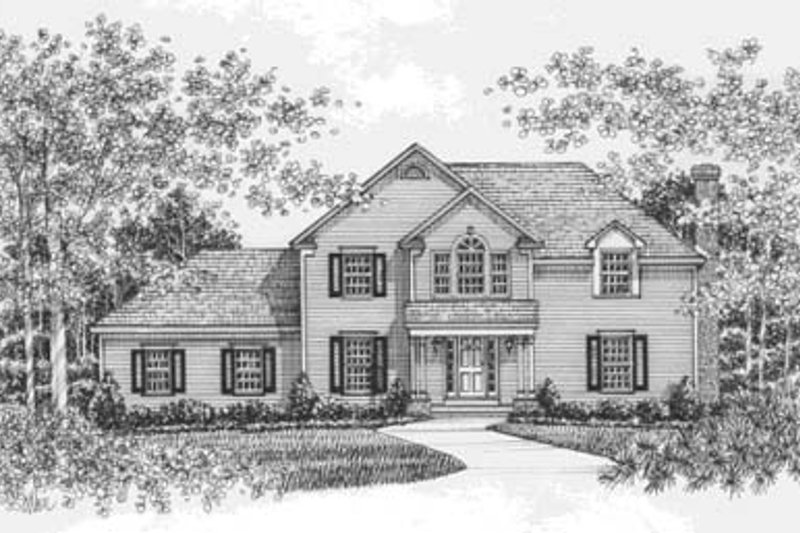 Colonial Style House Plan - 4 Beds 3 Baths 2222 Sq/Ft Plan #12-121 Exterior - Front Elevation