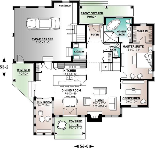 Traditional Floor Plan - Main Floor Plan #23-250