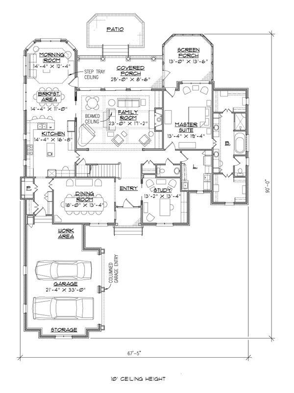 Colonial Floor Plan - Main Floor Plan Plan #1054-27