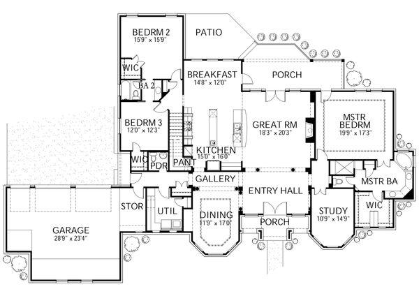 European Floor Plan - Main Floor Plan Plan #80-192