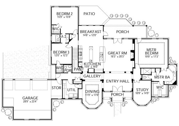 House Plan Design - European Floor Plan - Main Floor Plan #80-192