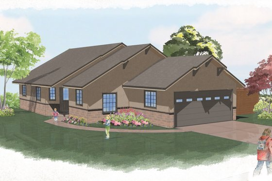 Ranch Exterior - Front Elevation Plan #515-24