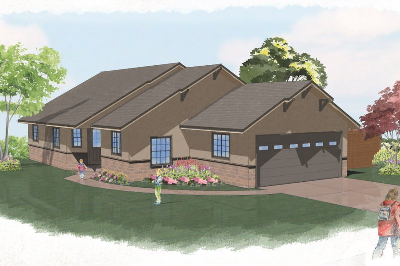 Ranch Style House Plan - 3 Beds 2 Baths 1350 Sq/Ft Plan #515-24 Exterior - Front Elevation