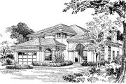 Mediterranean Style House Plan - 4 Beds 3.5 Baths 2861 Sq/Ft Plan #417-342 Exterior - Front Elevation