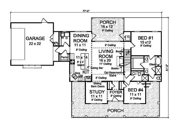 Farmhouse Floor Plan - Main Floor Plan #513-2184